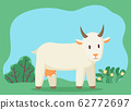 Cattle Character Pasturing on Summer Meadow Vector 62772697