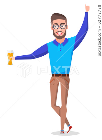 Bachelor Holding Beer in Glass in Hands Party 62772728