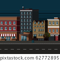 Night City, Street with Old Building Apartments 62772895