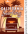 Surfer orange bus, van, camper with surfboard on the tropical beach. Poster California palm trees and blue ocean behind. Retro illustration of modern design, isolated, vector 62773263