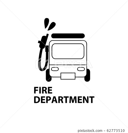 Fire truck fire department map icon symbol illustration vector simple line line drawing cute 62773510