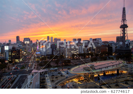 Nagoya downtown cityscape at sunset 62774617