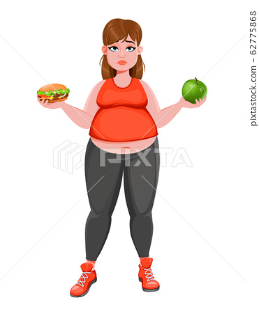 Woman choosing between apple and hamburger 62775868