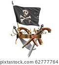 Vector Weapon Belt with Pirate Flag 62777764