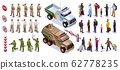 Border guards set collection guards with special vehicles and people crossing the border warning signs isometric icons on isolated background 62778235
