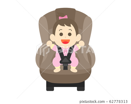 Illustration of a girl sitting in a child seat 62778313