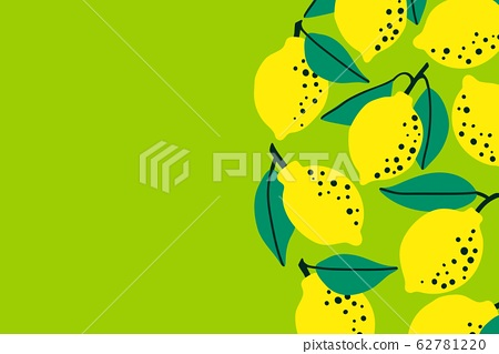 Lemon fruit background with citrus drawing. Summer tropical concept template to place text for 62781220