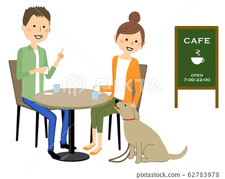 젊은 커플 카페 수다 62783978