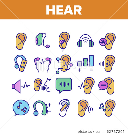Hear Sound Aid Tool Collection Icons Set Vector 62787205