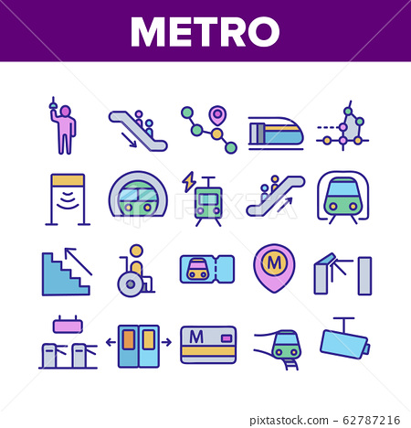 Metro Underground Collection Icons Set Vector 62787216