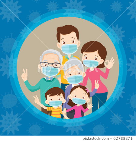 big family wearing a surgical mask to prevent 62788871