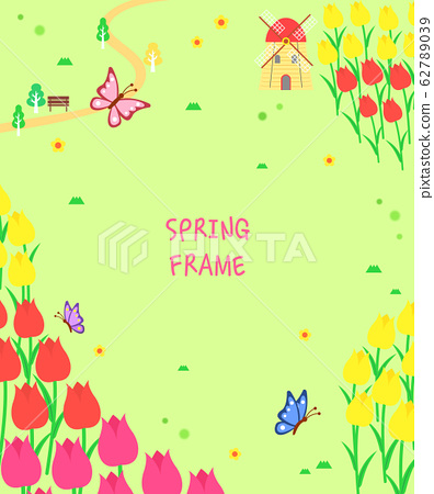 溫暖的春天的花朵景觀框架6 62789039