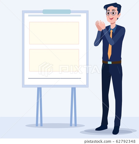 Business men Office cartoon characters. Standing persons. Business People at morning meeting. Illustration vector of discussion and talk, Board background. 62792348
