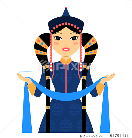 Beautiful mongolian woman. 62792418