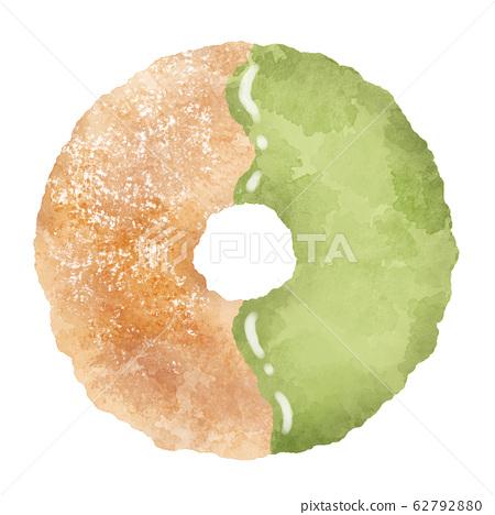 抹茶甜甜圈水彩插畫素材 62792880