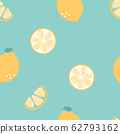 seamless hand drawn tropical lemon slice fruit repeat pattern, in blue background 62793162