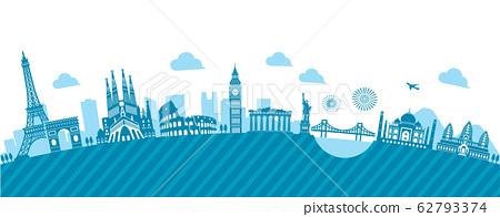 세계 유명 건축물 · 세계 유산 · 랜드 마크 나란히 풍경 일러스트 (아치형) 62793374