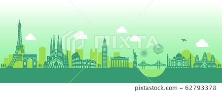 세계 유명 건축물 · 세계 유산 · 랜드 마크 나란히 풍경 일러스트 62793378