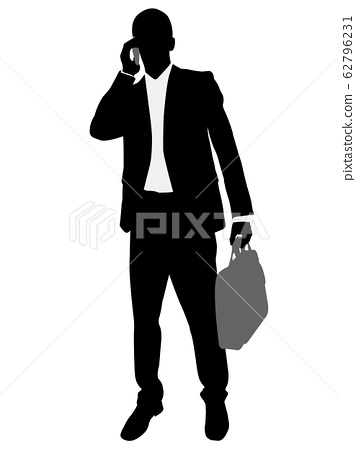 young and handsome businessman standing with suitcase silhouette 62796231