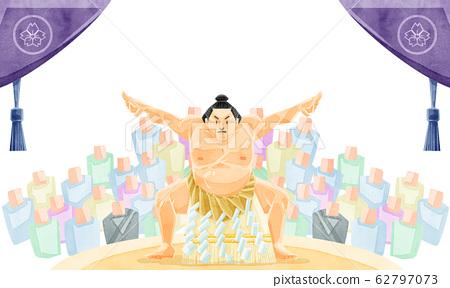 相撲摔跤圈和觀眾 62797073