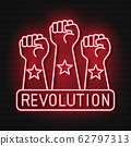 Raised Fist Neon Light Icon. Protest, Support Hand 62797313