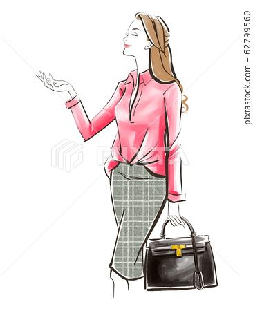 출근길에 벚꽃 나무를 올려다 여성 검은 가방 62799560