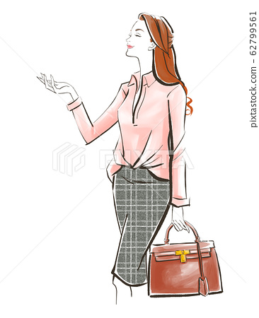 女人棕色袋抬頭看著櫻花樹上班的路上 62799561