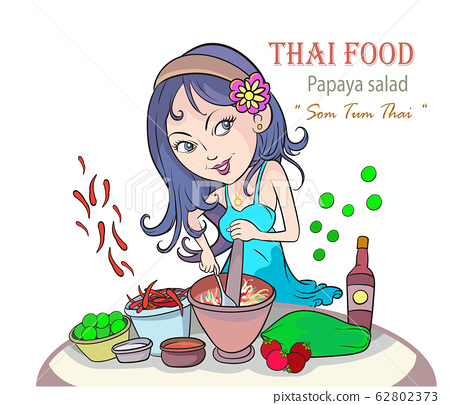 Beautiful women are cooking popular Thai food, papaya salad on a white background. 62802373