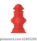 Red Fire Hydrant Icon Isolated on White Background. Flat Style Logo for Fire Fighting 62805266