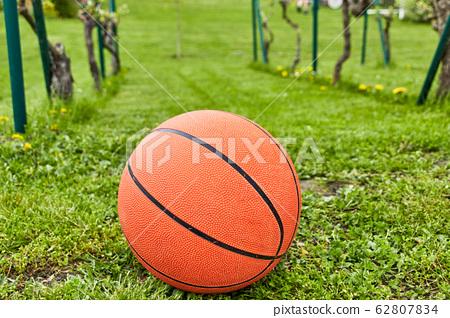 Orange basketball on meadow 62807834