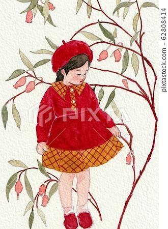 Watercolor girl autumn flower 62808414