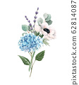 Beautiful gentle bouquet with watercolor blue hydrangea flowers and white anemones with lavander. Stock illustration. Floral background. 62814087