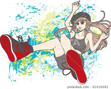 Girl wearing sneakers (background) 62816092