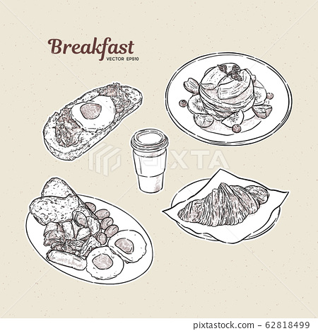 Breakfast collection, hand draw sketch vector. 62818499