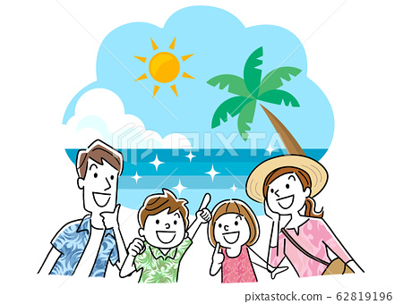 일러스트 소재 : 가족 여행, 해외, 바다, 리조트 62819196
