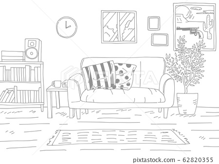 A simple background line drawing of a stylish room that is particular about the interior 62820355