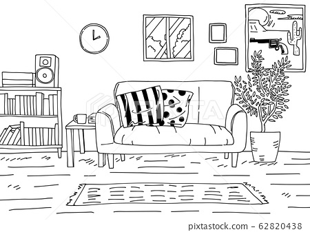 A simple background line drawing of a stylish room that is particular about the interior 62820438