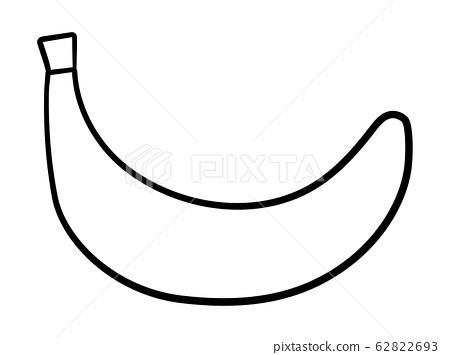 Banana in black lines on white background 62822693