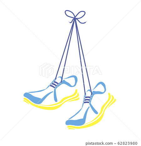 Sports Shoes and Shoelace Icon Isolated on White Background 62823980