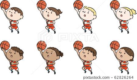 各個國家的兒童籃鋪設射紅色 62826264