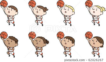 白人兒童在籃子裡鋪設 62826267