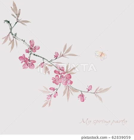 時尚花卉素材,水彩花卉設計 62839059
