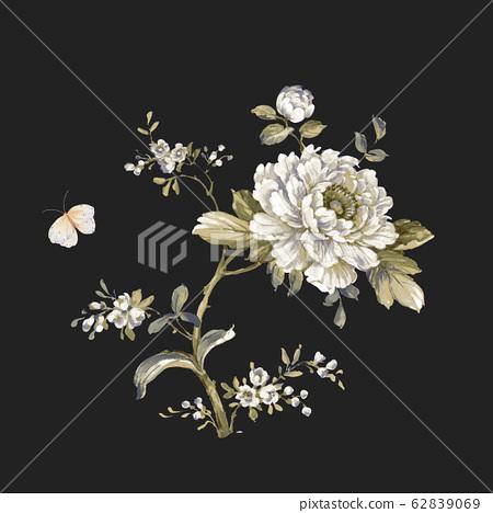 時尚花卉素材,水彩花卉設計 62839069