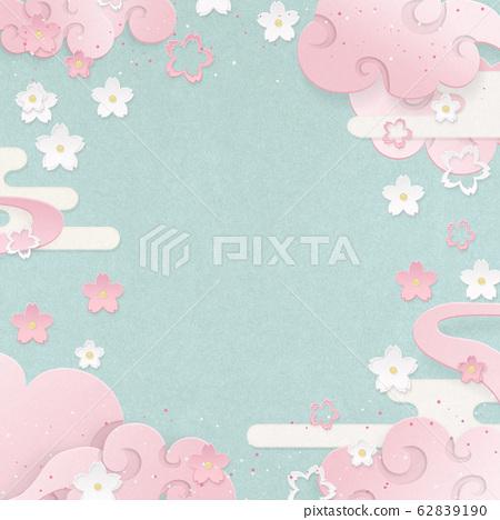 봄 낭만 - 핑크 - 벚꽃 - 구름 - 일본식 배경 소재 62839190