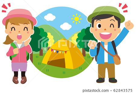 캠핑을하는 남녀 62843575