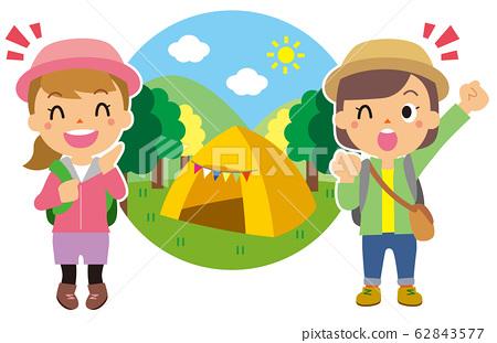 캠핑을하는 여성 62843577