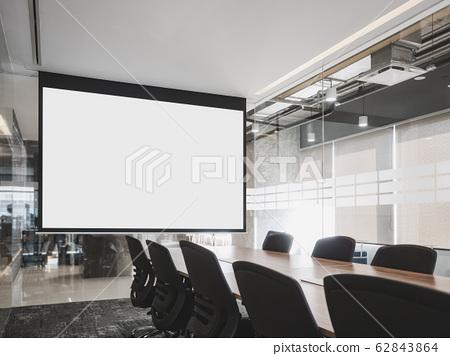 Mock up projector screen Presentation interior Meeting room Business concept 62843864