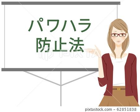 權力騷擾女公司員工解釋《勞動政策全面促進法》 PowerPoint幻燈片 62851838