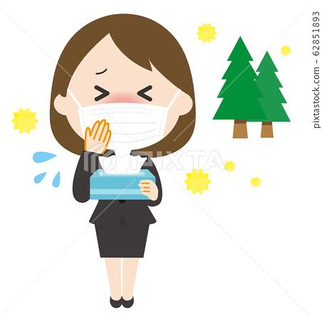 女人面具花粉打噴嚏 62851893