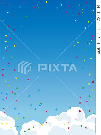 藍藍的天空和路與雲,五彩紙屑背景圖 62853334